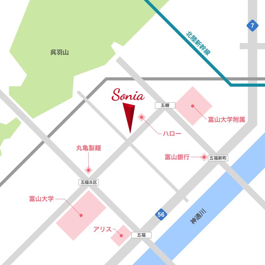 美容室ソニアへのアクセスマップ